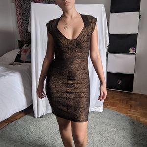 French connection Dani metallic knit bandage dress